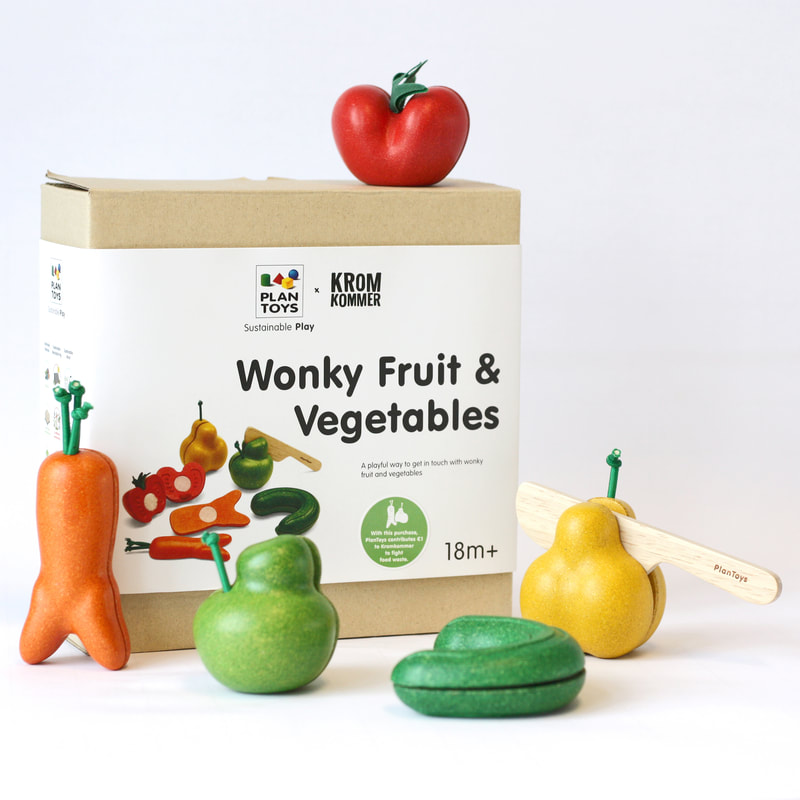 PlanToyx Kromkommer Wonky Fruits and Vegetables Wooden Toy
